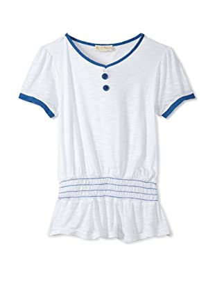 Upper School Girl's Shirred Knit Top (White)
