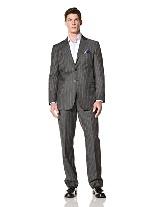 Yves Saint Laurent Men's Pinstripe Suit (Black with Blue Stripes)