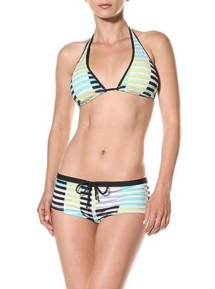 Puma Women's Techno Stripe Slider Halter Bikini Top (Mint)