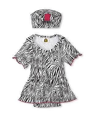 Barn Organics Baby Short Sleeve Skirted Bodysuit with Hat (Zebra)