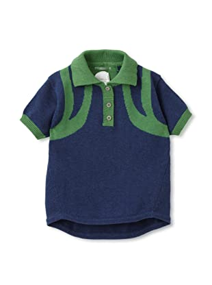 kicokids Boy's Sportive Shoulder Harness Contrast Polo (Grass/ indigo)