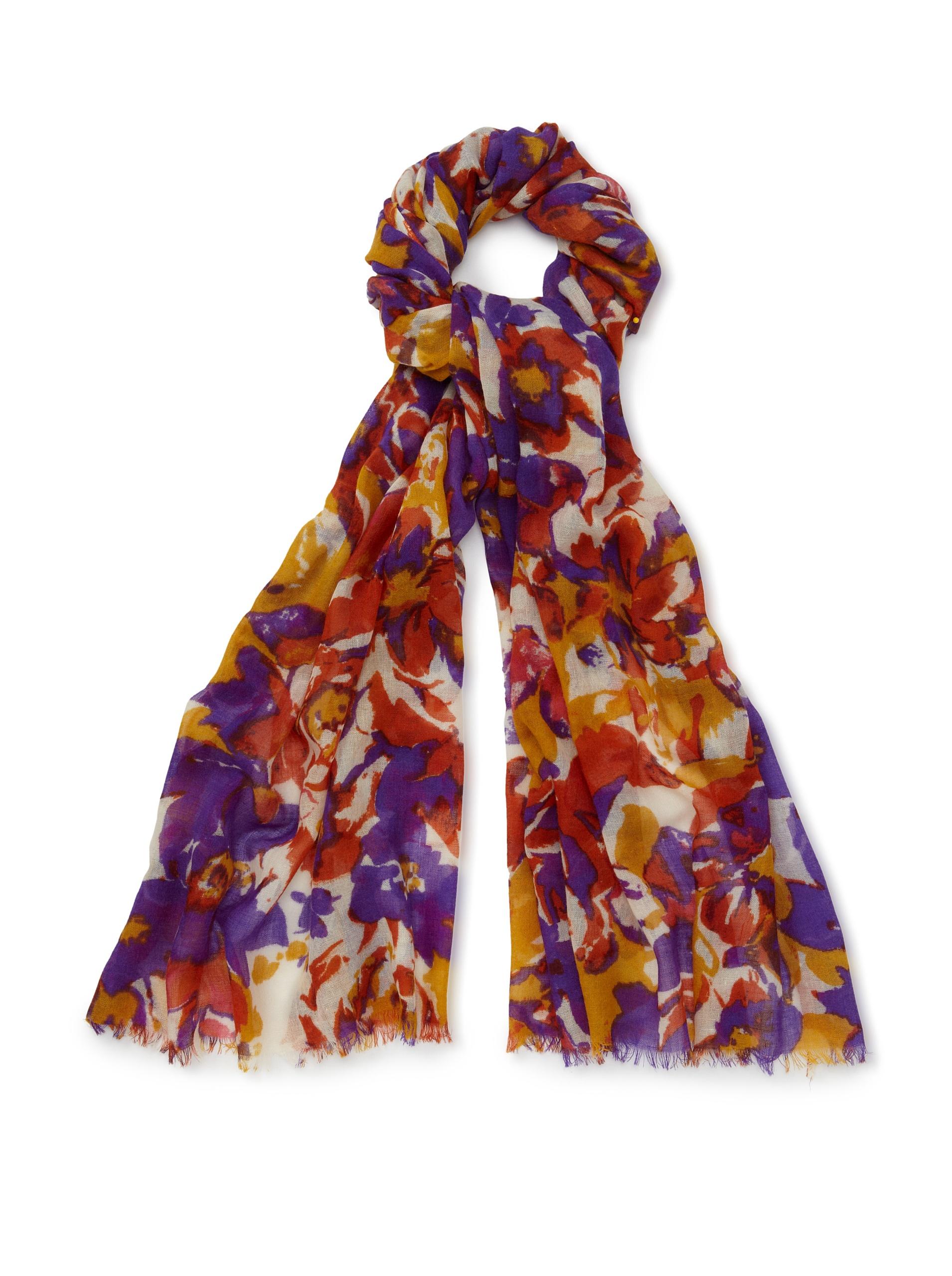 Bindya Cashmere Wool Blend Brushstroke Woven Scarf, Purple