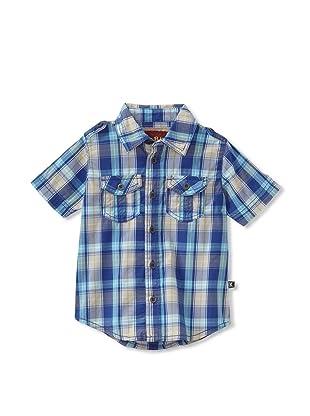 KANZ Boy's Short Sleeve Button Down (Deep Blue)