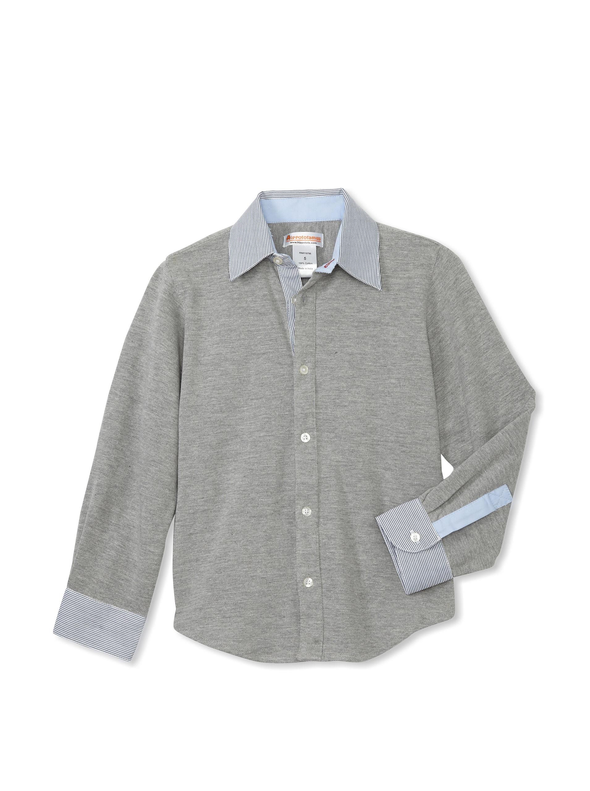 Hippototamus Pique Button-Front Shirt (Grey Pique/Blue Back)