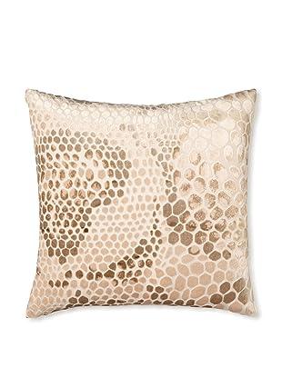 Kevin O'Brien Studio Snakeskin Velvet Pillow, Latte Cream, 16