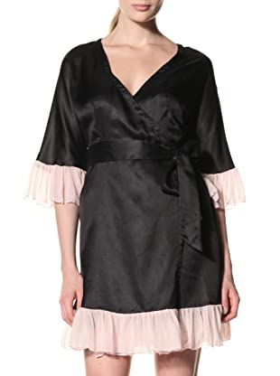 Toute la Nuit Women's Flounce Robe (Black/Blush)