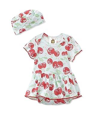 Barn Organics Baby Girl's Skirted One-Piece with Hat (Cherry Pie)