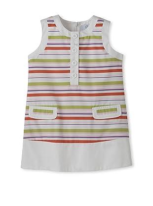 Baby CZ Girl's Chanel Sleeveless Dress (Pink/Lime Stripe)