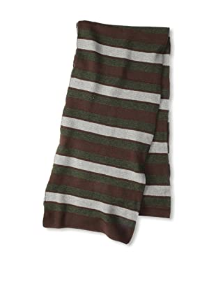 MARNI Women's Wide Stripe Scarf, Brown/Green