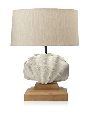Diamond Reef Shell Design Lamp (Off-White/Natural)