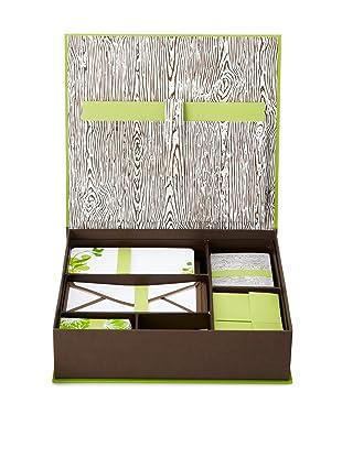 Elum Woodgrain Desk Set Green Choc, Green/Chocolate