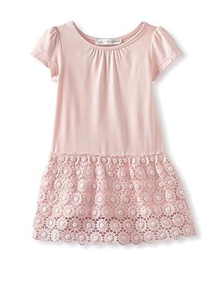 Charabia Girl's Short Sleeve Dress with Crochet Skirt (Pink)