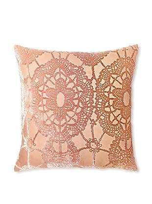 Kevin O'Brien Studio Lace Velvet Pillow, Pink Beige, 16
