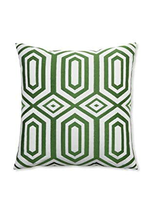 Peking Handicraft Hexagon Embroidered Linen Pillow, Green, 20