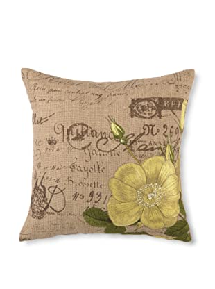 D.L. Rhein Tea Rose Embroidered Hemp/Burlap Pillow, Yellow, 16