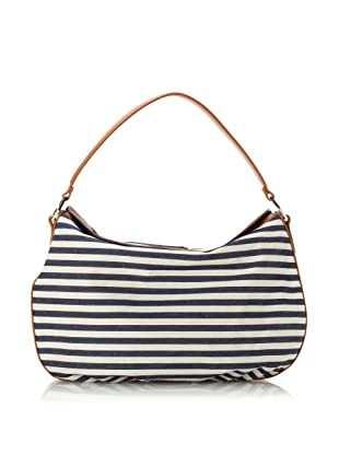 GF Ferre Women's Leather Striped Canvas Snap Pocketbook, Blue/White