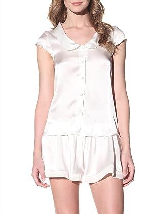 Toute la Nuit Women's Button Front Pajama Top (Ivory)