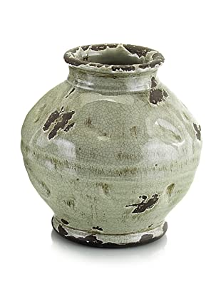 John-Richard Collection Hand-Thrown Small Sculpted Vase in Gray-Green