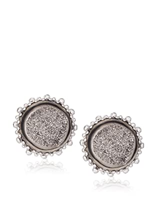 Anzie Drusy Stud Earrings , Grey and Silver