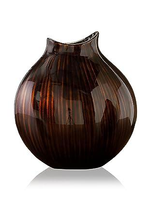 John-Richard Collection Large Neck Wave Vase in Metallic Bronze Finish