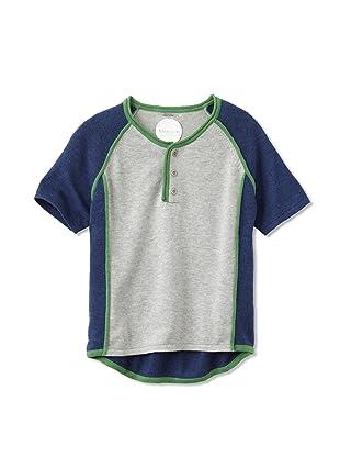 kicokids Boy's Track and Field Patchwork Short Sleeve Henley (Grey/ indigo)
