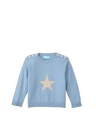 Bambeeno Intarsia Star Crewneck Sweater (Light Blue)