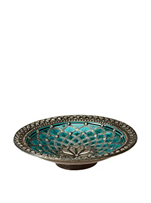 Traditional Moroccan Ceramic Plate with Metal Trim (Turquoise)