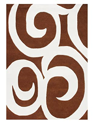 Horizon Alliyah Collection Abstract Swirl Rug (Leather Brown/Off-White)
