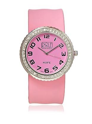 Rolf Bleu Rhinestone Silicone Slap Watch (Soft Pink)