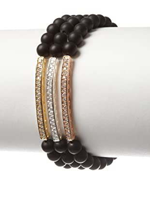 Lola James Fire and Ice Onyx Tiered Beaded Bar Bracelet Set, Silver and Gold and Rose Gold