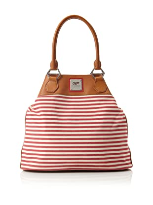 GF Ferré Women's Leather Striped Canvas Snap Tote, Red/White