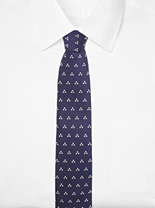 E.Tautz Men's Dotted Tie (Navy/White)