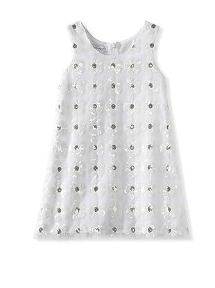 Charabia Girl's Flower Sequin Sleeveless Dress (White)