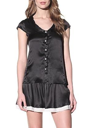 Toute la Nuit Women's Button Front Pajama Top (Black)