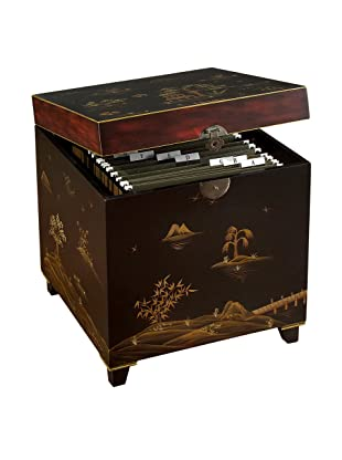 John-Richard Collection File Box with Hand-Painted Chinese Scene