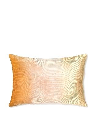Kevin O'Brien Studio Slinky Velvet Pillow, Papaya/Beige, 14