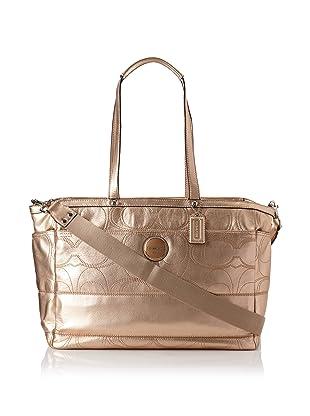 Coach Signature Stripe Metallic Leather Baby Bag, Gold