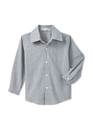 Velvet & Tweed Boy's Button Front Long Sleeve Shirt (Grey Plaid)