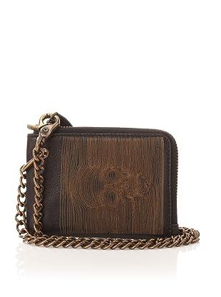 John Varvatos Star USA Men's Zip Around Wallet with Chain (Black)