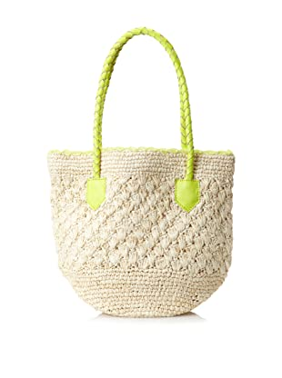 Cleobella Women's Sirena Small Straw Tote, Neon Yellow