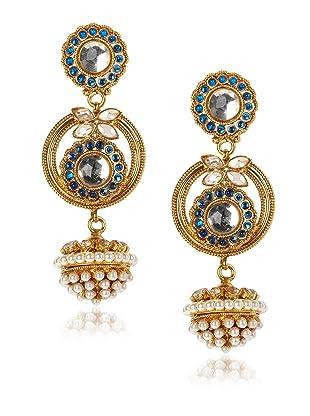 Taara Blue Crystal and Pearl Drop Earrings