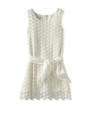 Charabia Girl's Sleeveless Crochet Dress (Ivory)