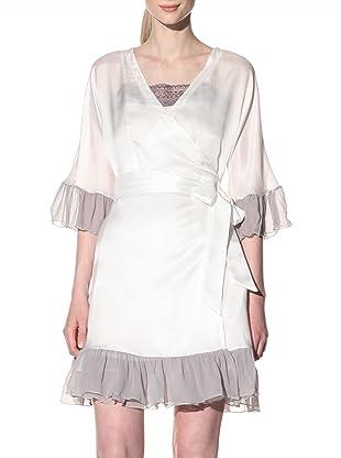 Toute la Nuit Women's Flounce Robe (Ivory/Grey)
