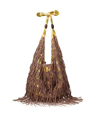 Cleobella Women's Electra Fringed Ikat Boho Sak, Brown/Earth