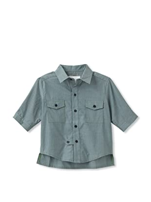 kicokids Boy's Classroom Shirt with Cropped Sleeves (Grass)