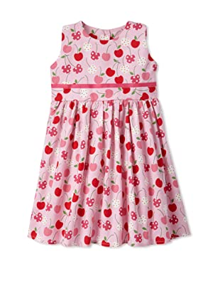 Noa Lily Girl's Cherries with Grosgrain Ribbon Dress (Pink)