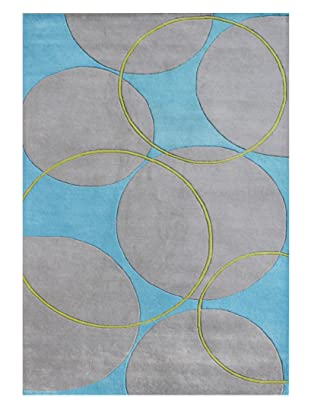 Horizon Alliyah Collection Circles Rug (Aqua/Grey/Green)