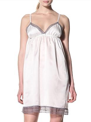 Toute la Nuit Women's Short Backless Nightie (Ivory/Grey)