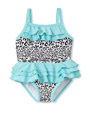 Absorba Infant/Toddler Ruffled Swimsuit (Aqua/Animal Print)