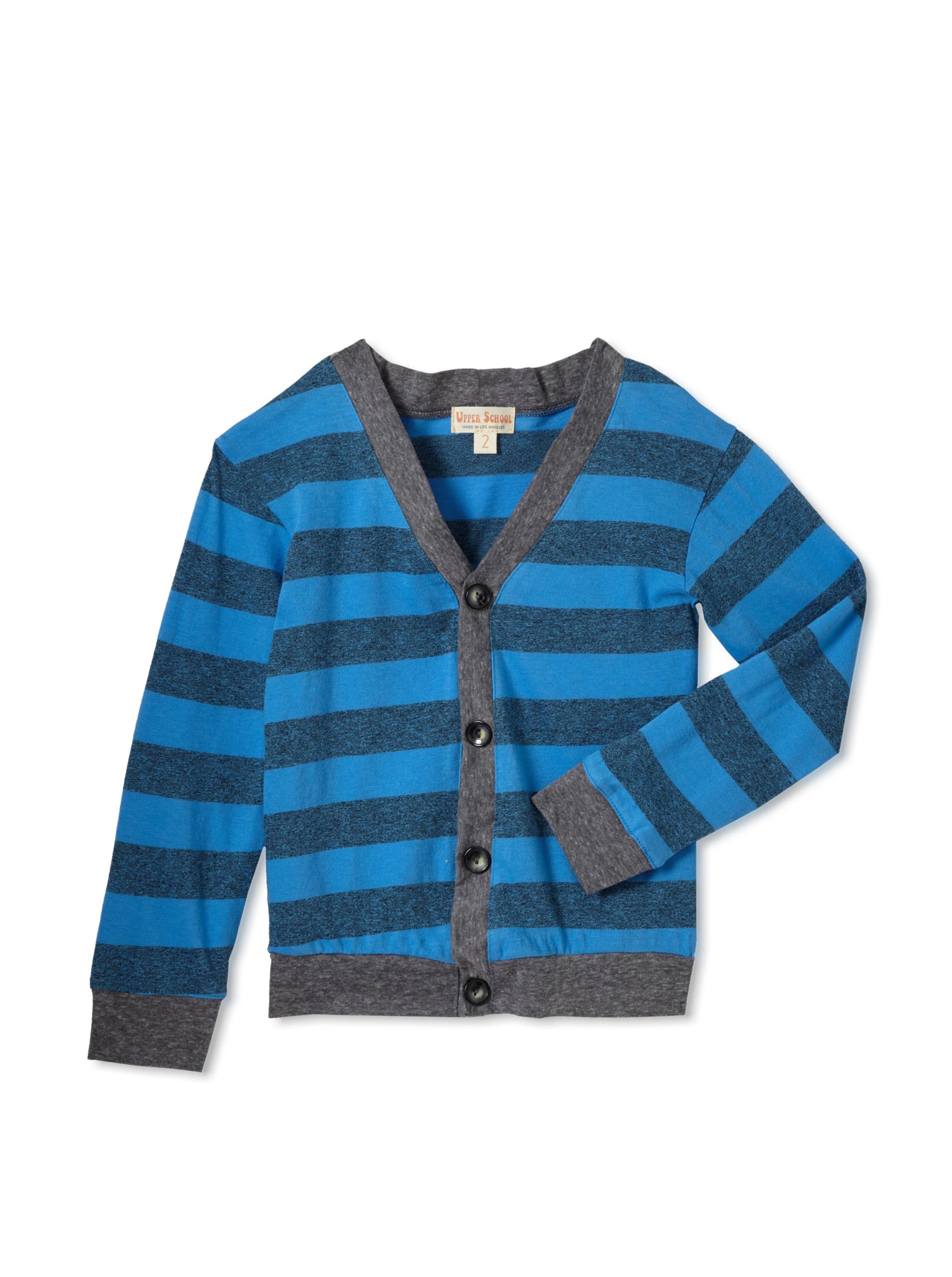 Upper School Boy's Grey Stripe Cardigan (Blue)